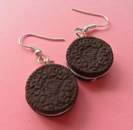 Oreo Cookie Earrings - chocolate