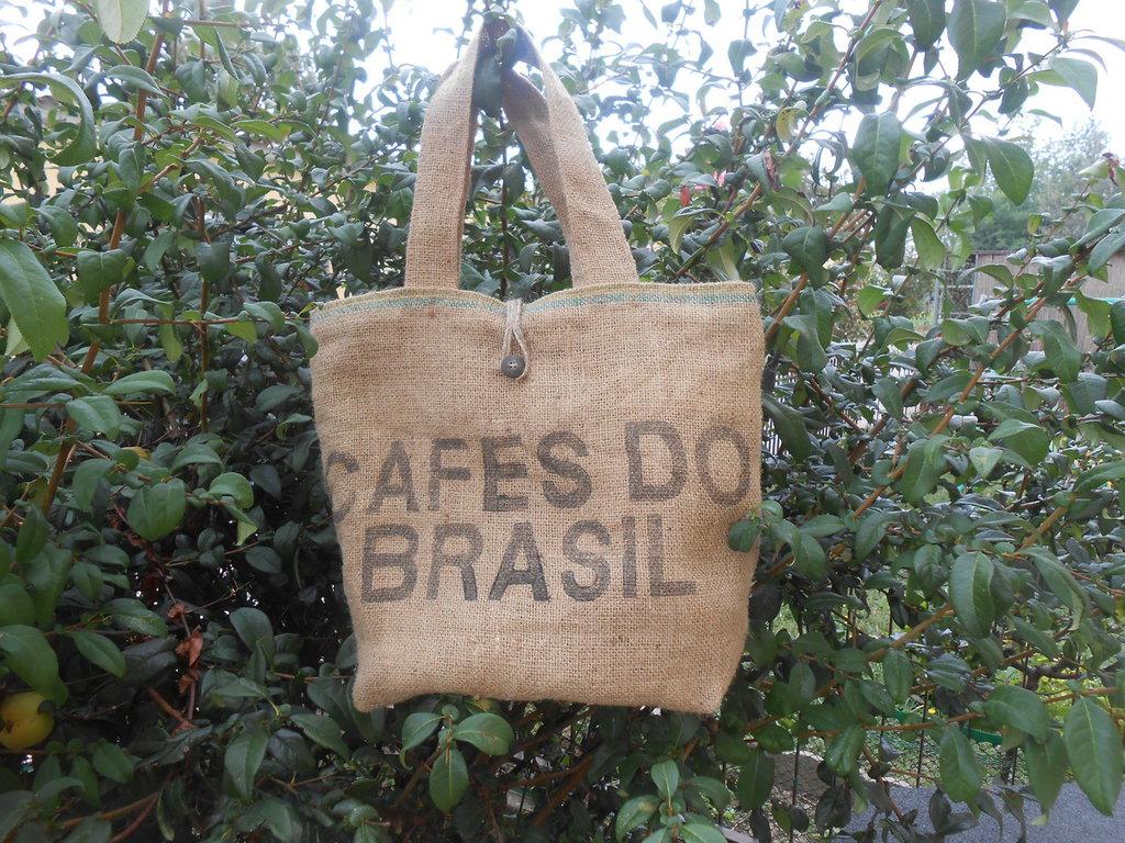 Borsa in tela juta riciclata da sacchi del caffè , idea regalo.