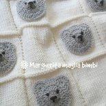 Copertina orsetti baby neonato - copertina culla in pura lana merino - ferri e uncinetto