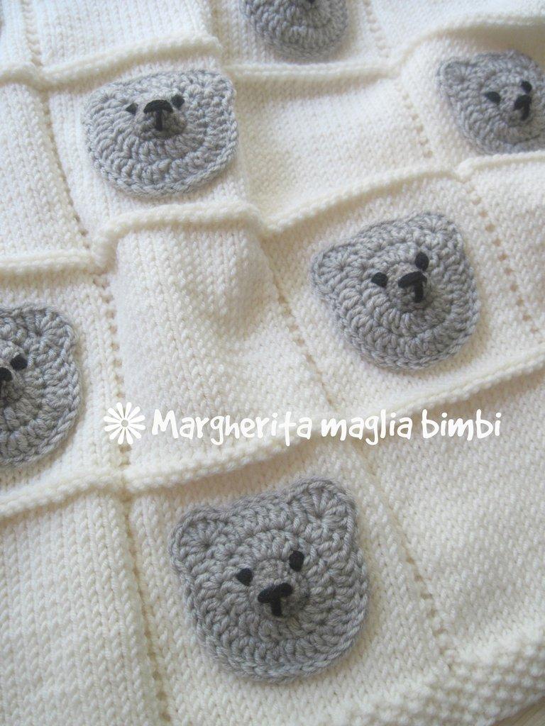 Top Copertina orsetti baby neonato - copertina culla in pura lana  BO96