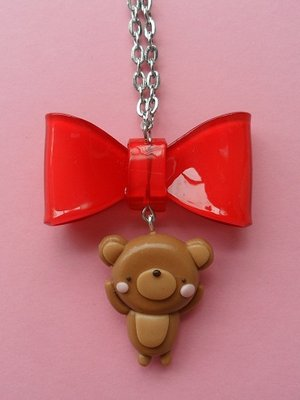 Sweet Bear Necklace - red