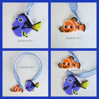 """Segnalibro """"Dory e Nemo"""" realizzati con perline Miyuki delica"""