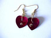 Orecchini cuore in madreperla realizzati a mano/rosso/tango/idea regalo