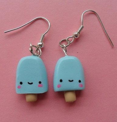 Sweet Ice Lolly Earrings - baby blue