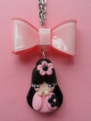 Kokeshi Necklace - pink