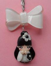 Kokeshi Necklace - white