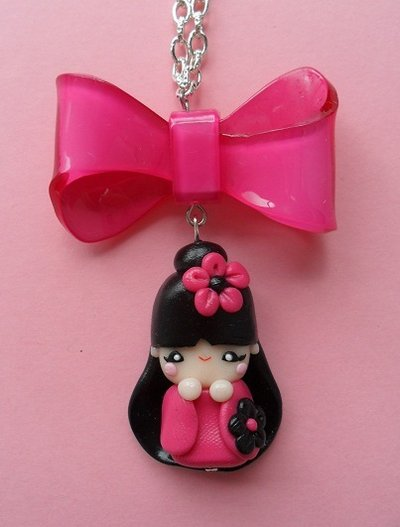 Kokeshi Necklace - hot pink