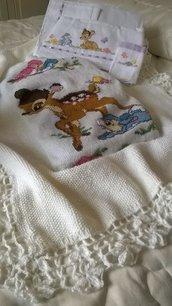parure carrozzina Copertina in lana e lenzuolino