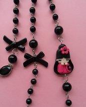 Kokeshi Necklace - hot pink