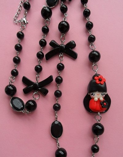 Kokeshi Necklace - red