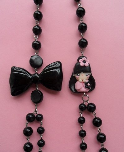 Kokeshi Necklace - pink
