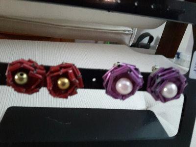 Orecchini roselline a clip con capsule di caffe