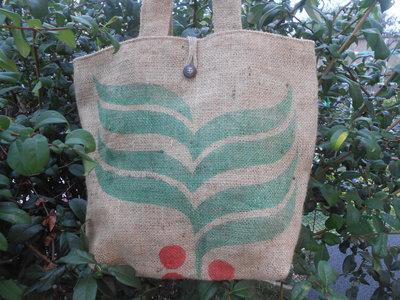 Grande borsa in tela juta riciclata da sacchi di caffè, idea regalo.