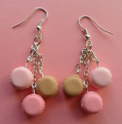 My favourite macarons - earrings: rose, strawberry, caramel