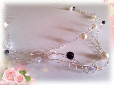 collana in Argento, Perle d'acqua dolce, Onice nero e sfavillanti Swarovsky realizzata in filo di argento 925