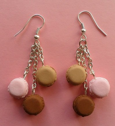 My favourite macarons - earrings: rose, chocolate, caramel