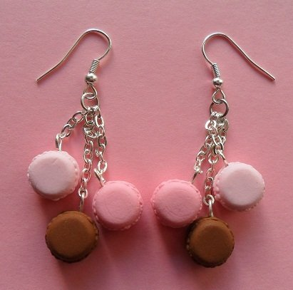 My favourite macarons - earrings: rose, strawberry, chocolate