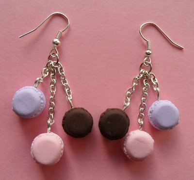My favourite macarons - earrings: rose, dark chocolate, violet