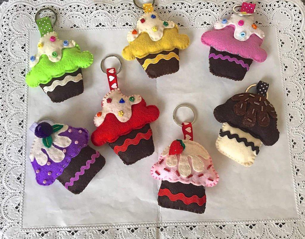 portachiavi in feltro a forma di cupcake