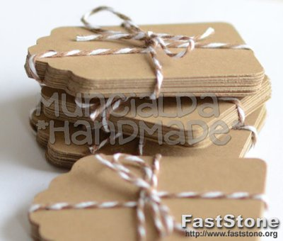 Set 50 tag kraft, colore cartoncino naturale, etichette handmade