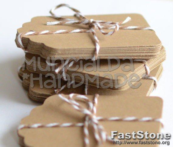 abbastanza Set 50 tag kraft, colore cartoncino naturale, etichette handmade  WS21