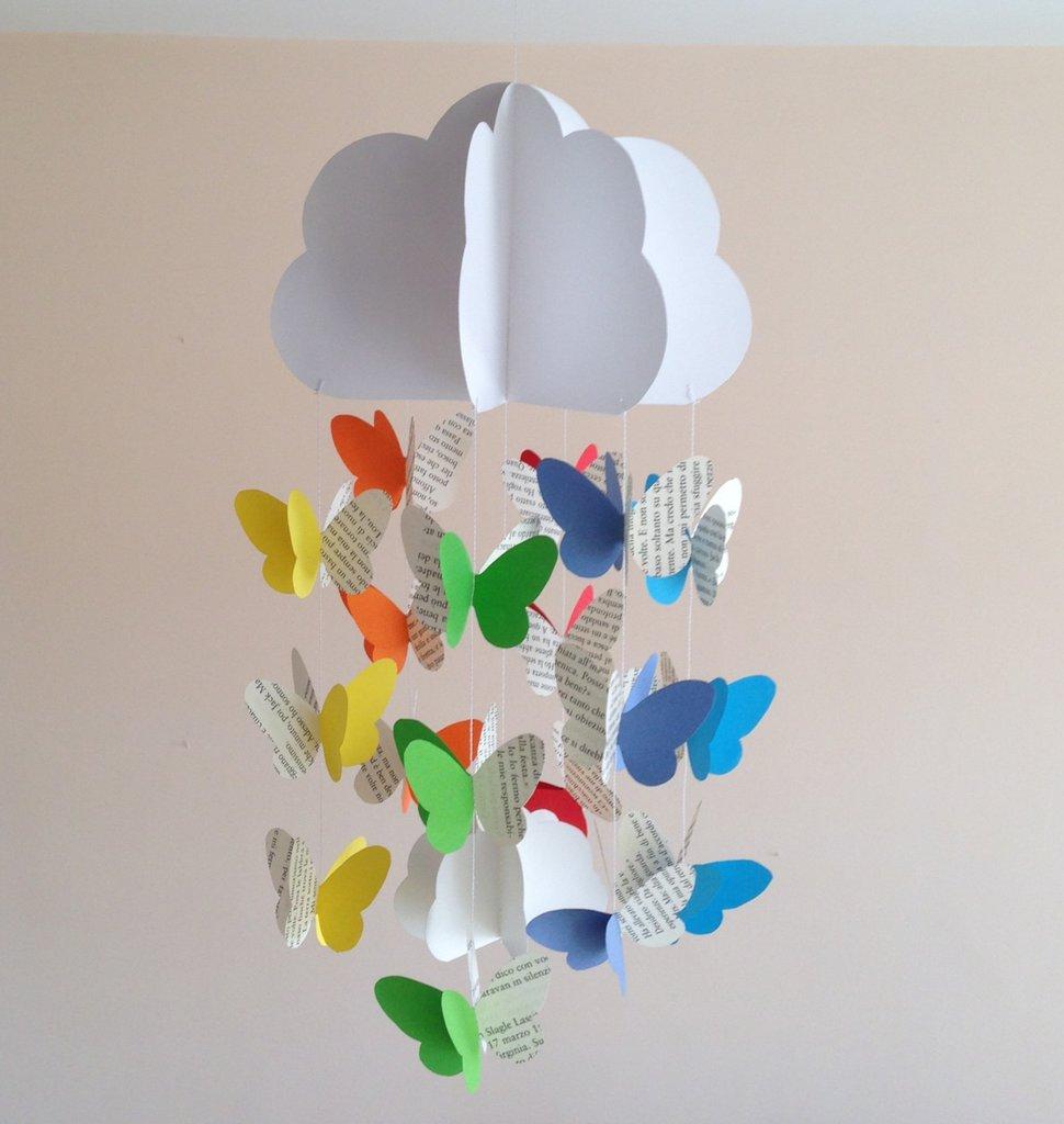 Decorazione per cameretta, con farfalle arcobaleno e pagine libro, 3D