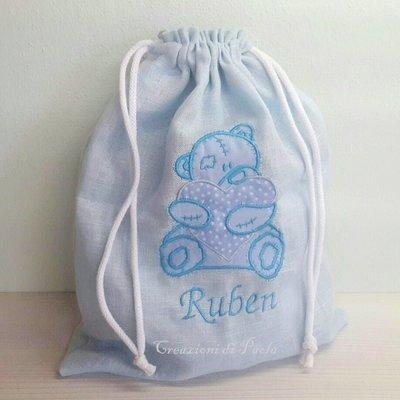 Sacca portatutto in lino personalizzata per bimbo o bimba