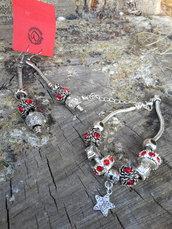 Parure  orecchini e braccialetti charms