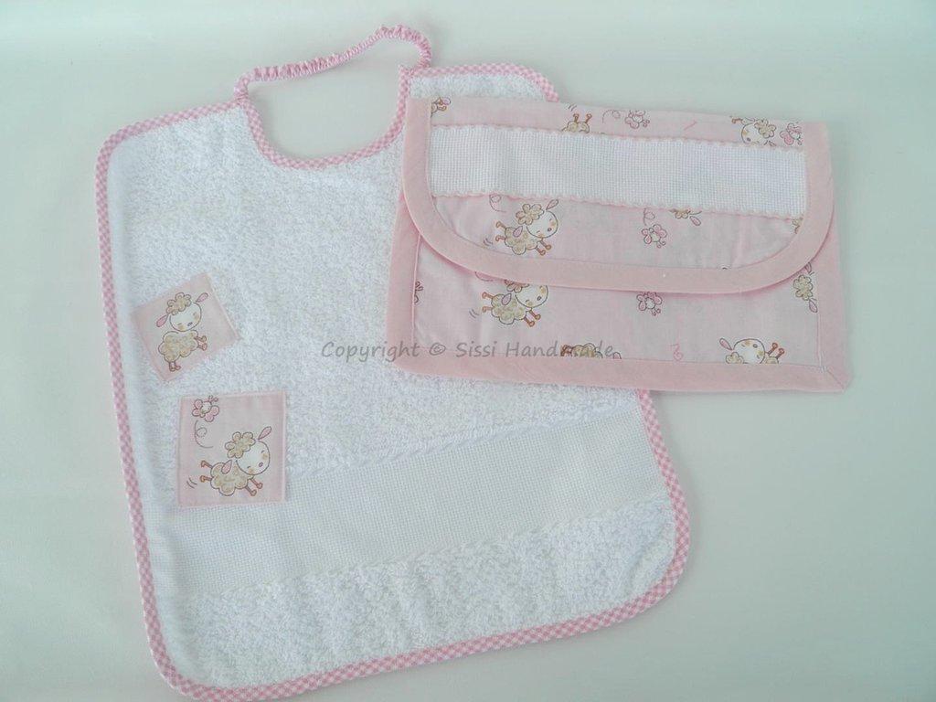 Set asilo e scuola bimba con pecorelle su tessuto rosa: 4 pezzi + personalizzazione