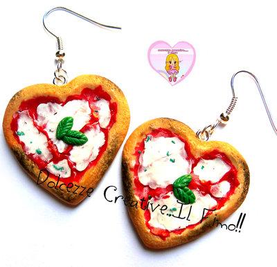 Orecchini Pizza  Margherita a forma di cuore - kawaii handmade idea regalo SU ORDINAZIONE
