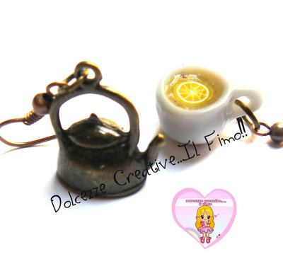 Orecchini - Ora del Tè - Con teiera e tazza di Tè al limone!