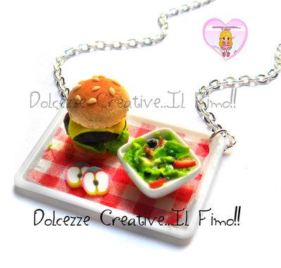 Collana Vassoio con Hamburger e piatto di insalata - mele - handmade