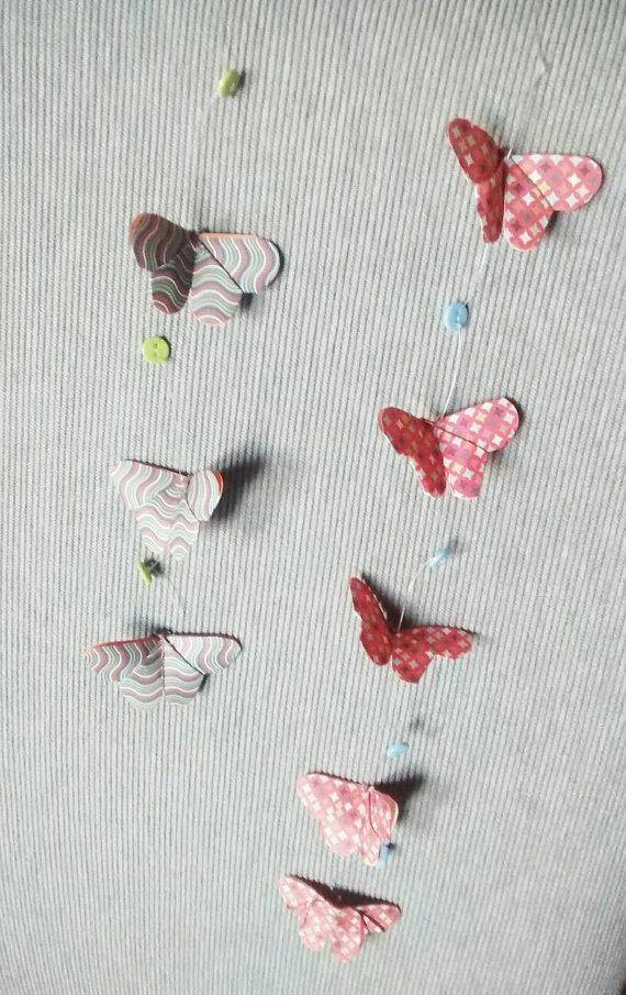Farfalle origami, farfalle da appendere, mobile di farfalle, decorazioni da parete