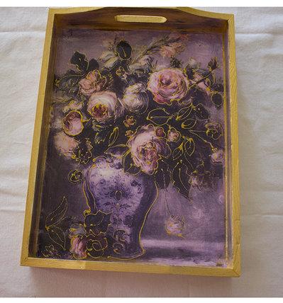 """Vassoio in legno """"vaso con fiori"""""""