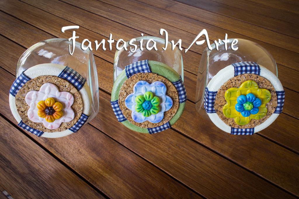 3 Barattolini porta spezie decorati a mano