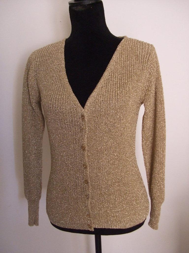 cardigan donna cotone maglia oro