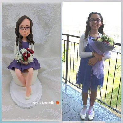 Stata cake topper compleanno ragazza con fiori