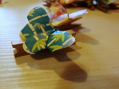 5 Chiudi pacco, mollette in legno con farfalla, origami farfalla, segnaposto