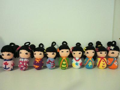 Kokeshi bomboniere/portachiavi amigurumi handmade