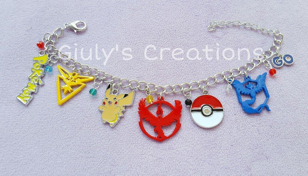 Bracciale Pokémon Go Pikachu sfera pokè team valor mystic instinct videogames nintendo