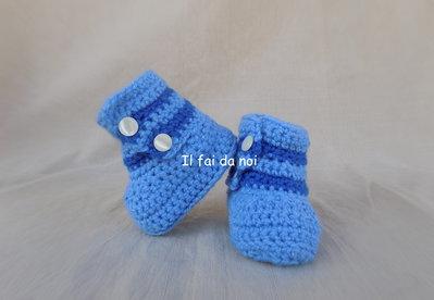 Scarpine noenato 0-3 mesi, lana azzurro, uncinetto