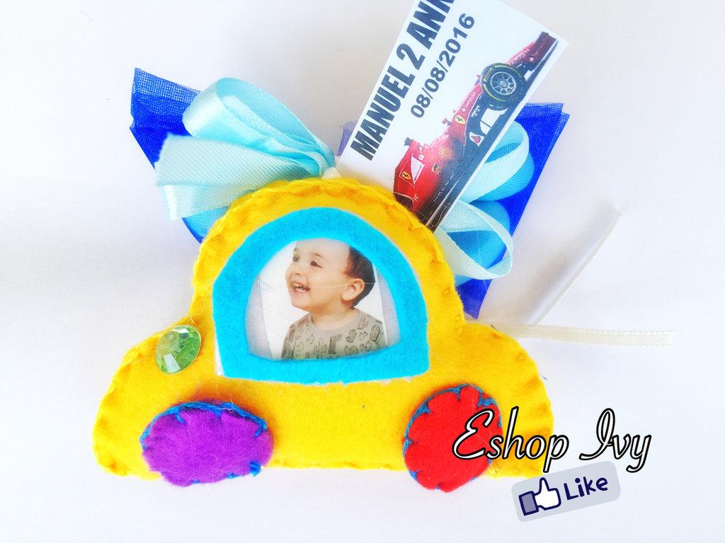 Bomboniere compleanno personalizzate con foto bimbo bimba macchinina macchinine maschietto