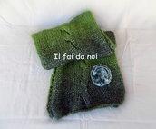 Sciarpa in lana verde, accessorio donna, ferri