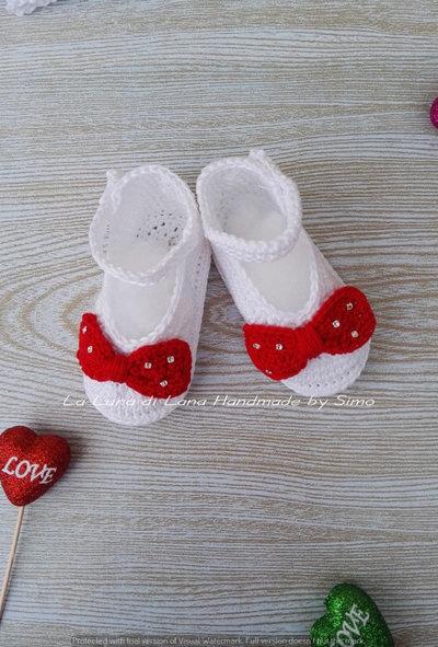 Scarpette ad uncinetto per neonata, perfetti per Battesimo o cerimonia