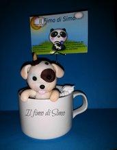 portafoto tazza con cagnolino in pasta polimerica