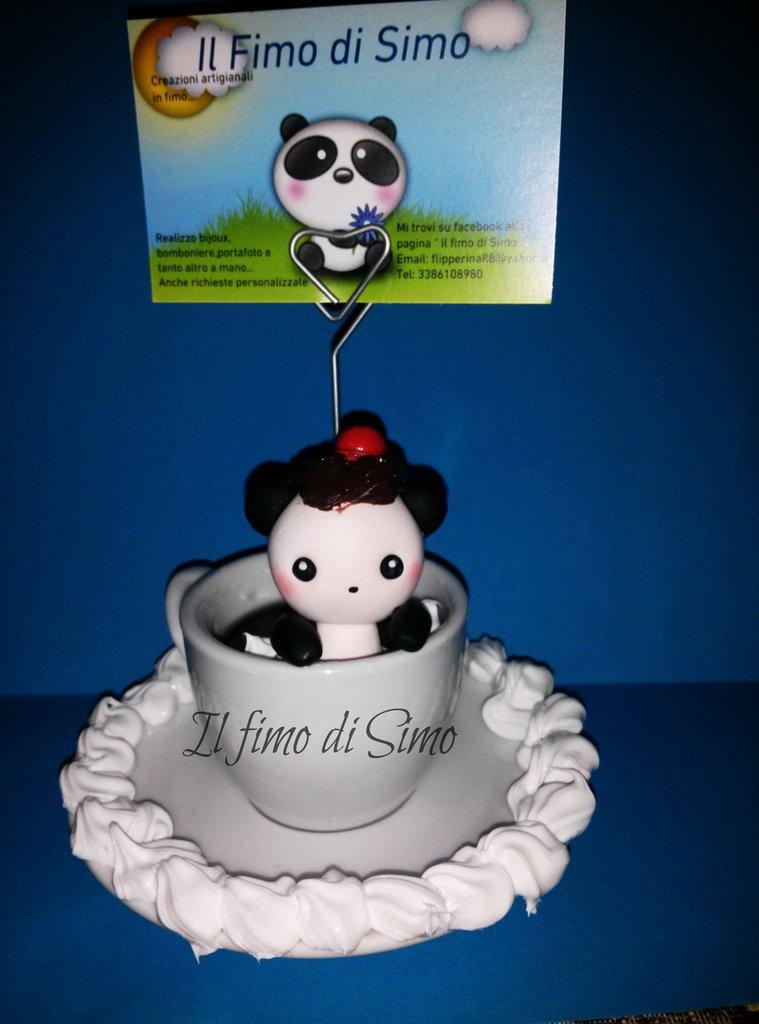portafoto tazza con piattino con panda in pasta polimerica