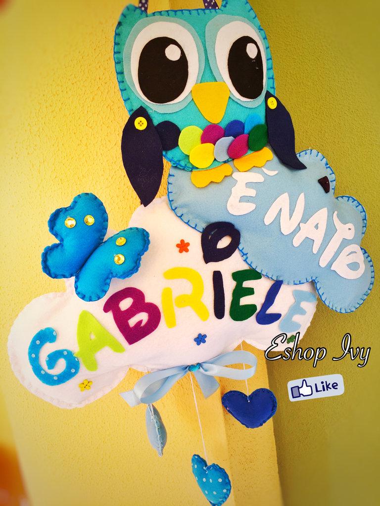 Fiocco nascita Gufetto con farfalla colore azzurro per bimbo maschietto personalizzato con nome