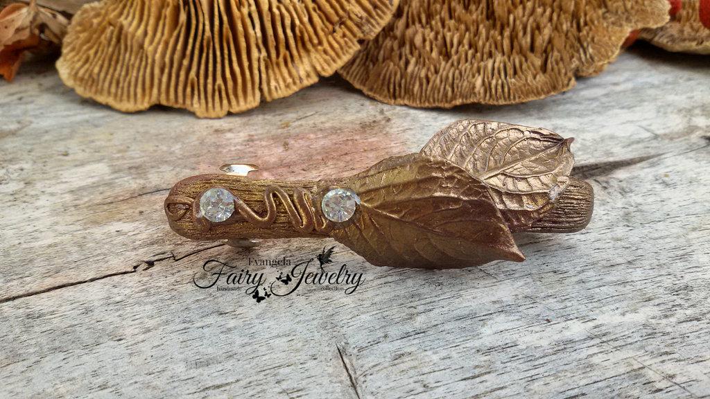 Gioiello per capelli fermacapelli accessorio fimo foglie bronzo elfico giardino druido