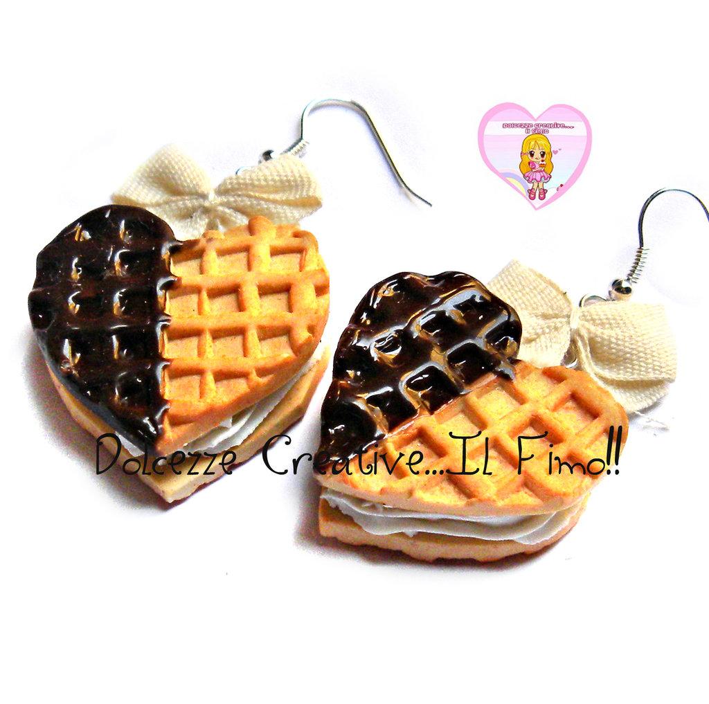 Orecchini Waffle Cuore Biscotto con panna - handmade fimo cernit shabby