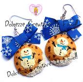 ☃ Natale In Dolcezze 2016 ☃ Orecchini Cookie - Biscotti con pupazzo di neve